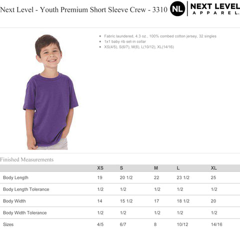 Next Level Youth Premium Short Sleeve Crew 3310 Size Chart