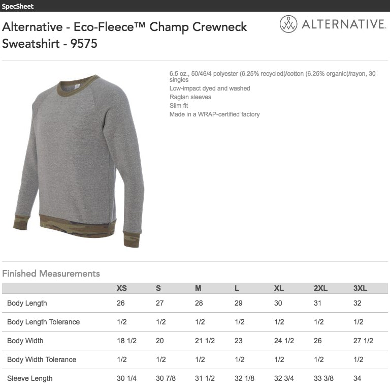 Alternative Eco Fleece Camo Sweatshirt Size Chart