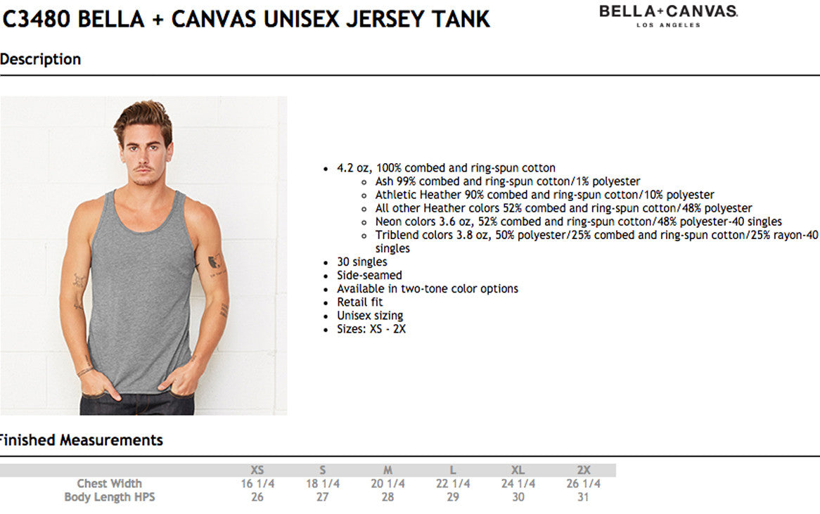 Bella Canvas 3480 Size Chart
