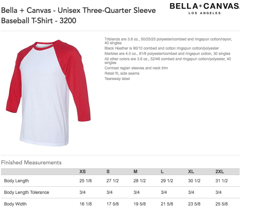 Bella Canvas Baseball Raglan Size Chart