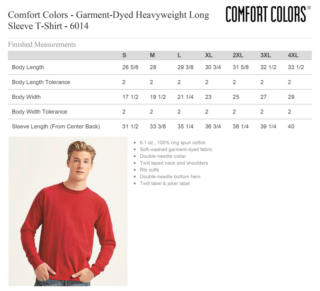 Comfort Colors 6014 Long Sleeve Size Chart