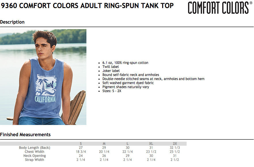 Comfort Colors Tank Top Size Chart