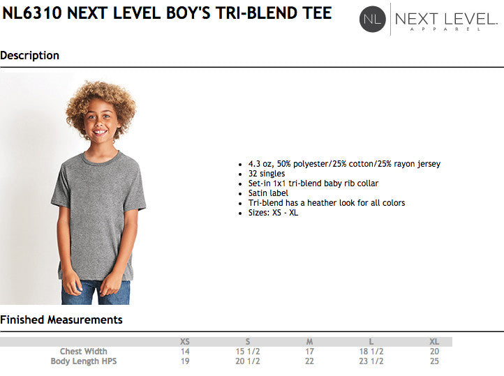 Next Level Kids Tri Blend T-Shirt Size Chart