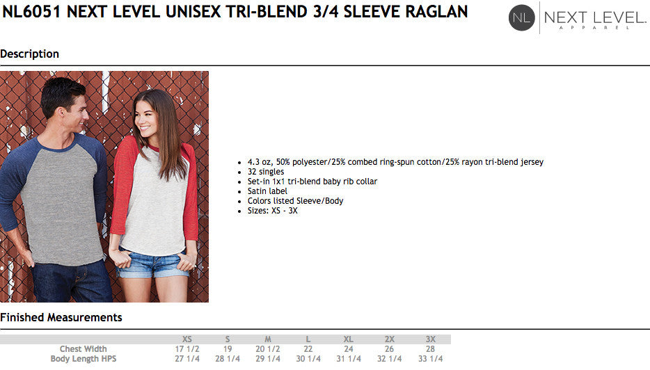 Next Level Adult Raglan Size Chart