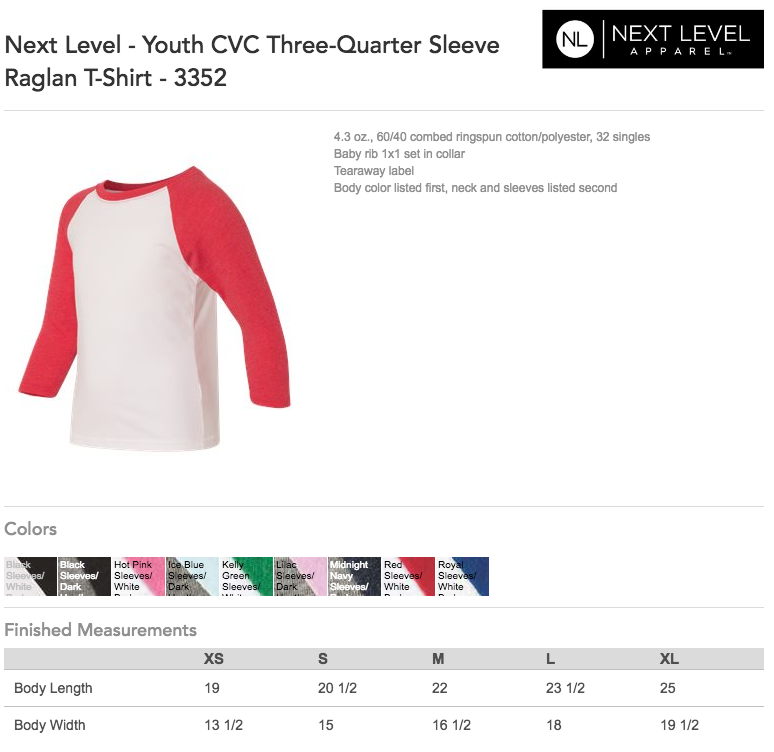 Next Level - Youth CVC Three-Quarter Sleeve Raglan Size Guide