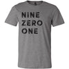 Adult Nine Zero One 901 Area Code T-Shirt Grey