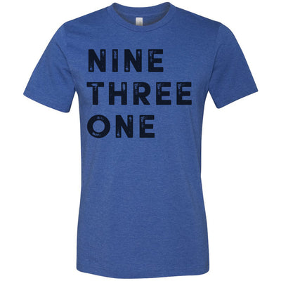 Adult Nine Three One 931 Area Code T-Shirt Blue