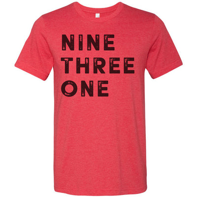 Adult Nine Three One 931 Area Code T-Shirt Red