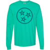 Clearance Adult Tri Star Outline on a Long Sleeve Island Green T-Shirt