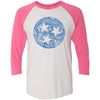 Clearance Adult Floral Tri Star on a Vintage Pink Sleeve Raglan