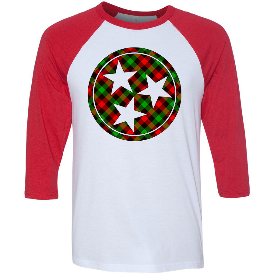 Adult Red, Green, and Black Plaid Tri Star Red Sleeve Raglan