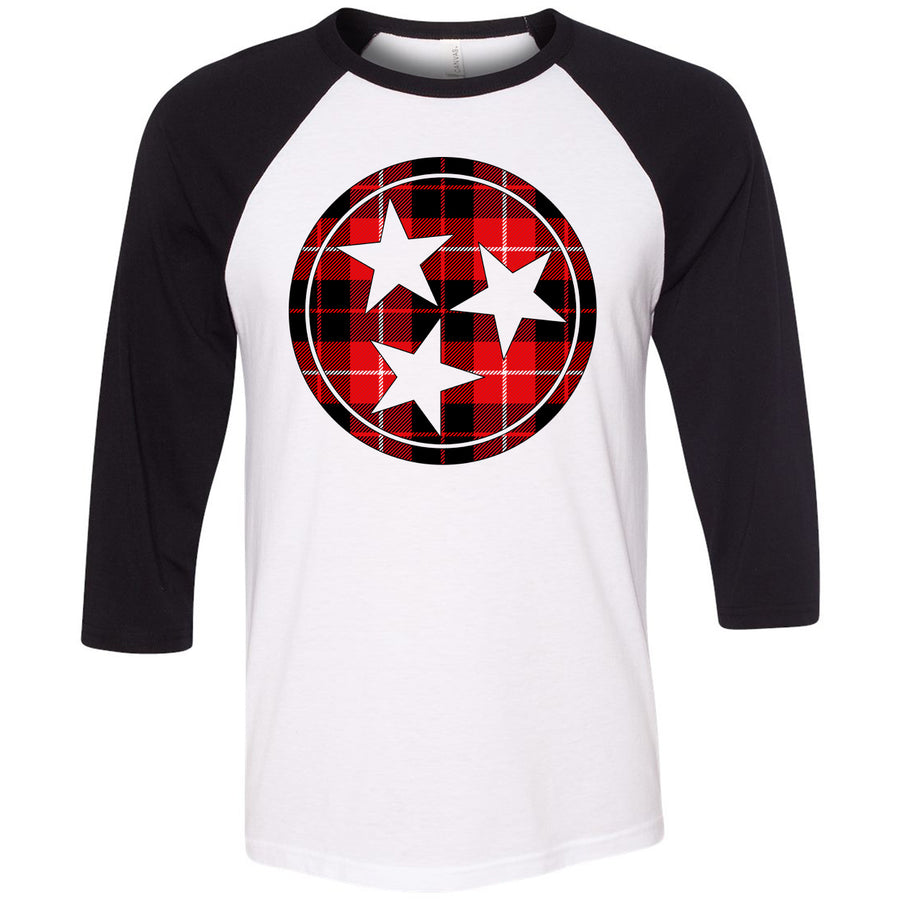 Adult Red & Black Buffalo Check Plaid Tri Star Black Sleeve Raglan