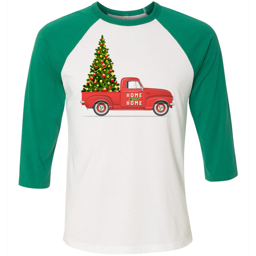 Adult Christmas Tree Truck Home Sweet Home Green Sleeve Raglan