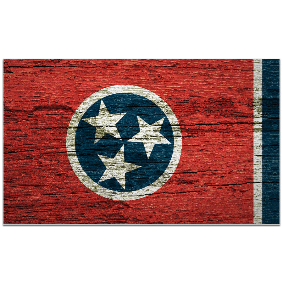 Woodgrain Traditional Tennessee Flag 4 Inch Decal