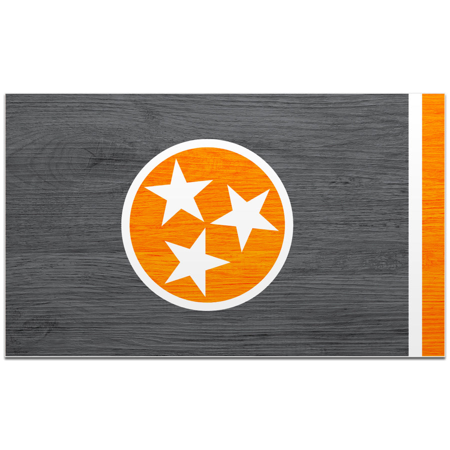 Orange & Grey Woodgrain Tennessee Flag 4 Inch Decal