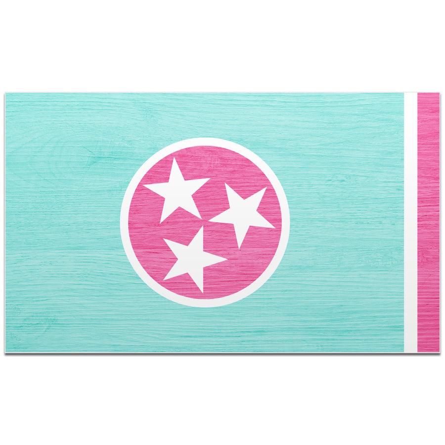 Light Blue & Pink Woodgrain Tennessee Flag 4 Inch Decal