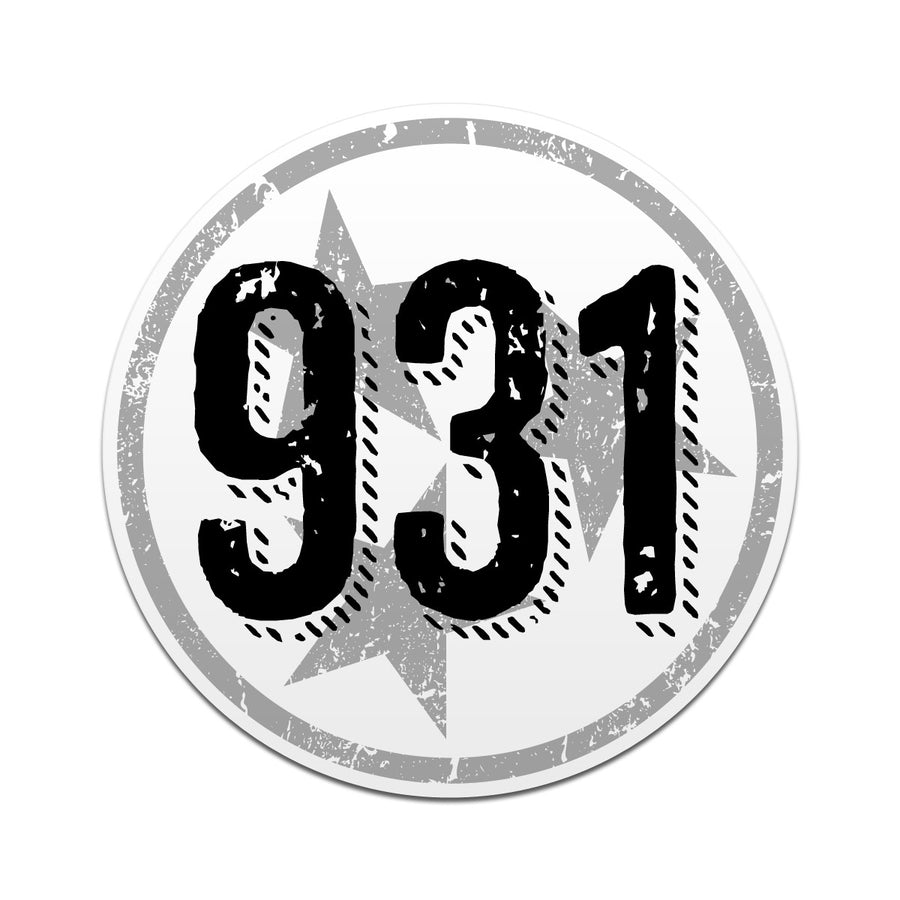 931 Area Code Tri Star 3 Inch Decal