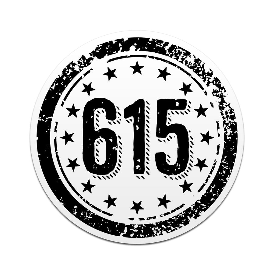 615 Area Code 3 Inch Decal