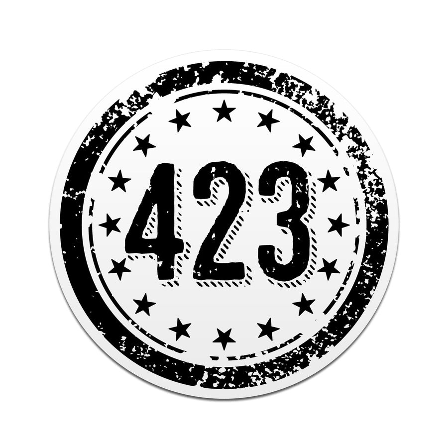 423 Area Code 3 Inch Decal