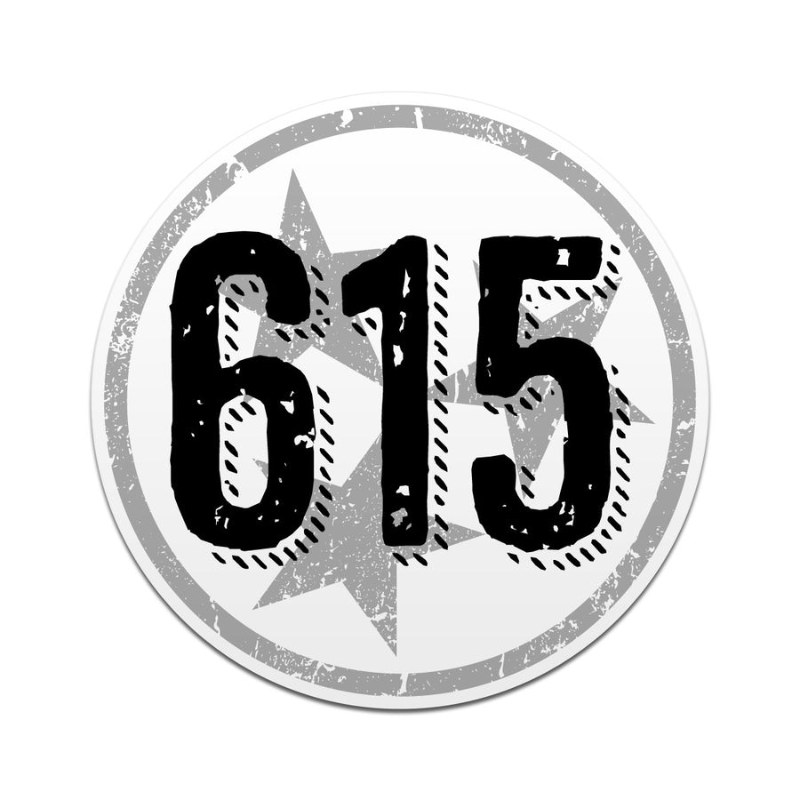 615 Area Code Tri Star 3 Inch Decal