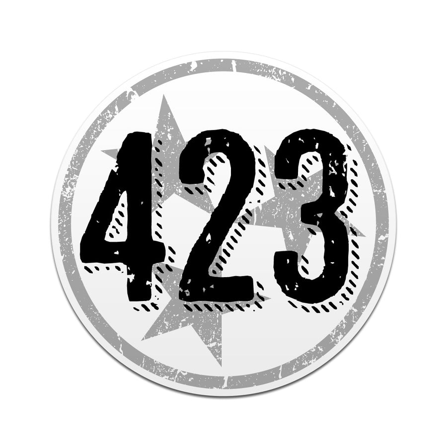 423 Area Code Tri Star 3 Inch Decal