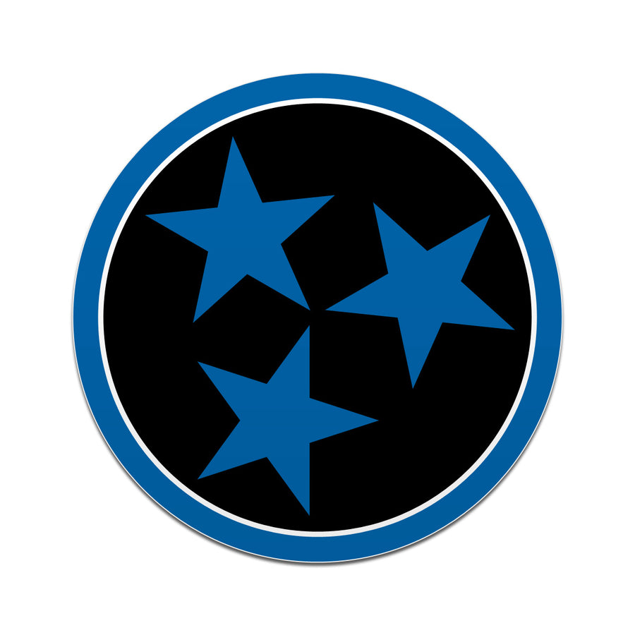 Black with Blue Tri Star 3 Inch Decal