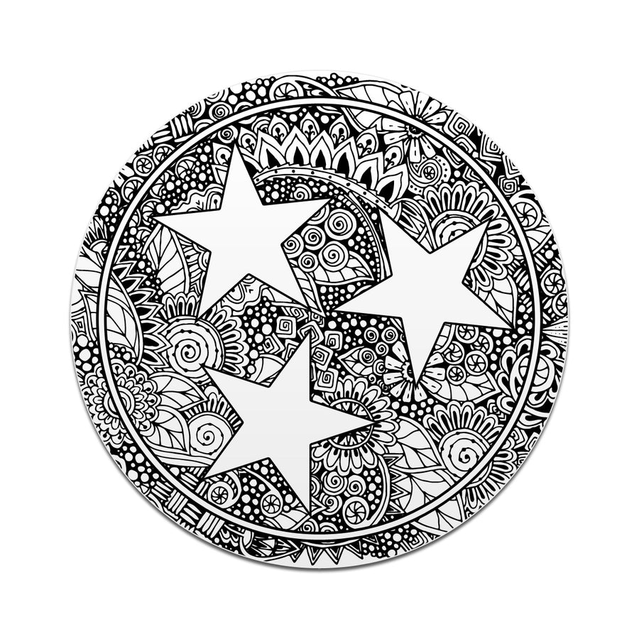 FLORAL TRI-STAR Doodle Tri Star 3 Inch Decal