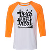 Adult Trick Or Treat on a Orange Sleeve Raglan