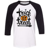 Adult Trick Or Treat on a Black Sleeve Raglan
