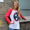 Adult Blue & Red Tri Star on a Red Sleeve Raglan