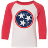 Kids Blue & Red Tri Star on a Red Sleeve Raglan