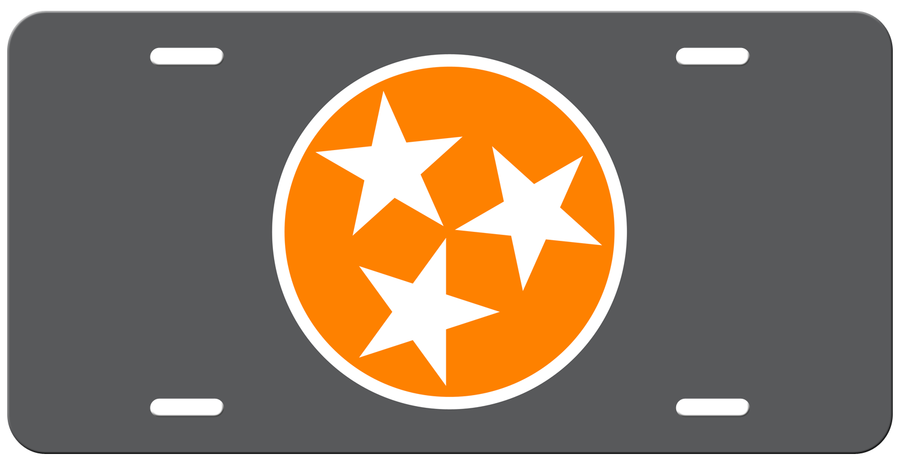 Orange Tri Star on a Grey License Plate