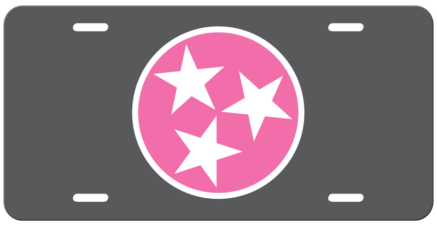 Pink Tri Star on a Grey License Plate