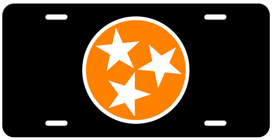 Orange Tri Star on a Black License Plate