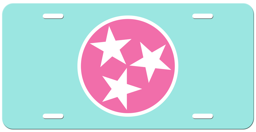 Pink Tri Star on a Light Blue License Plate