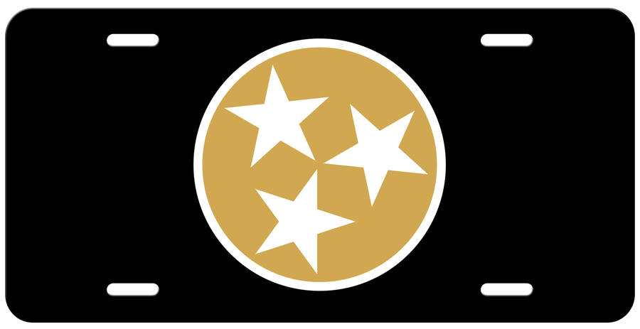 Matte Gold Tri Star on a Black License Plate