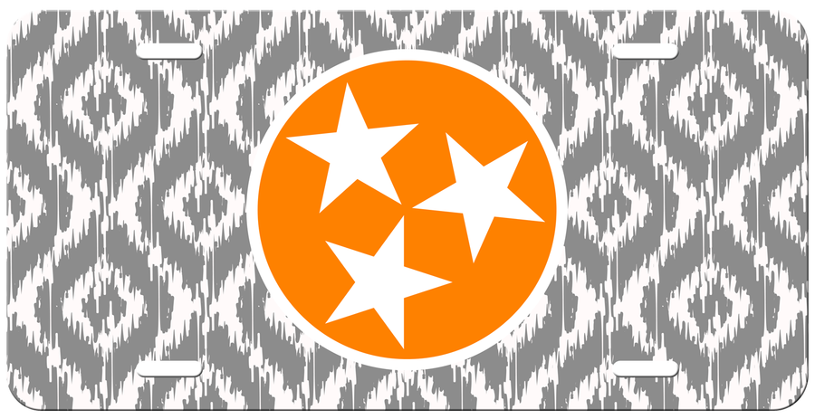 Orange Tri Star on a Ikat License Plate