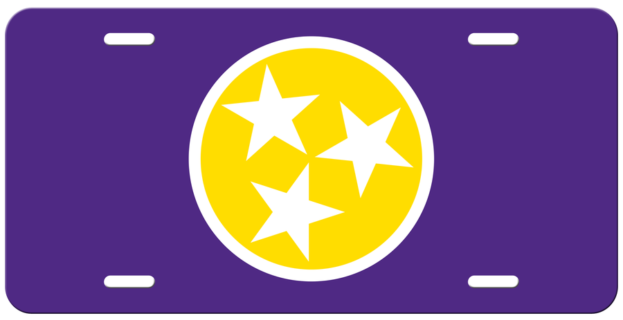 Yellow Tri Star on a Purple License Plate