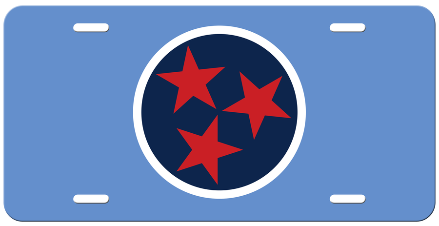 Navy Tri Star on a Light Blue License Plate