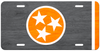 Orange Tri Star on a Faux Wood License Plate