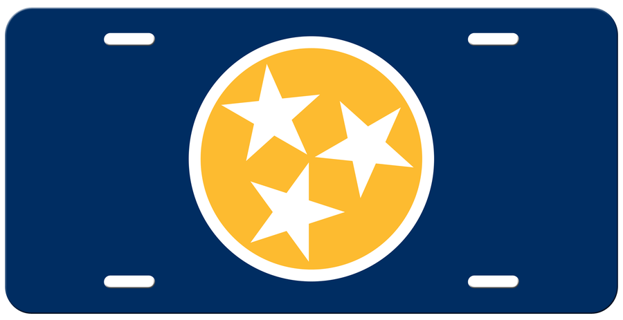 Yellow Tri Star on a Navy License Plate