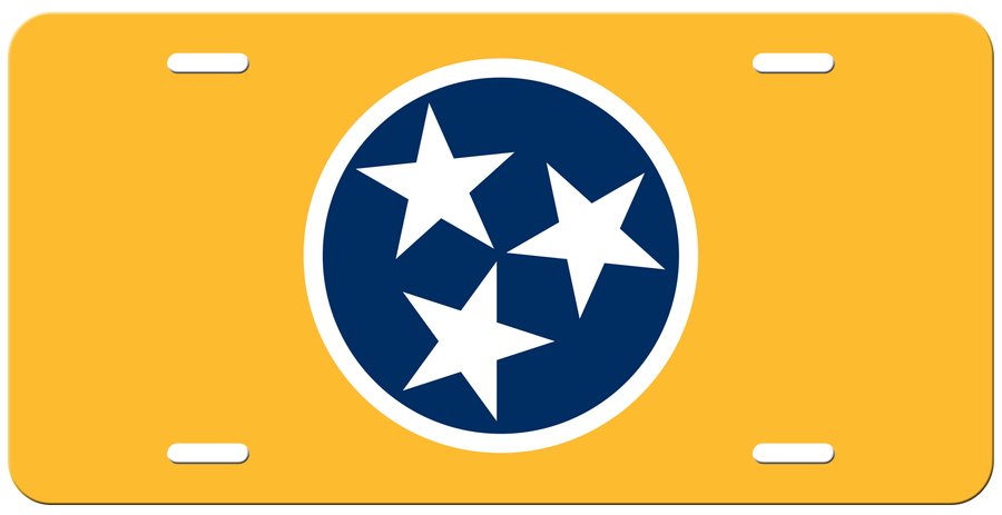 Navy Tri Star on a Yellow License Plate