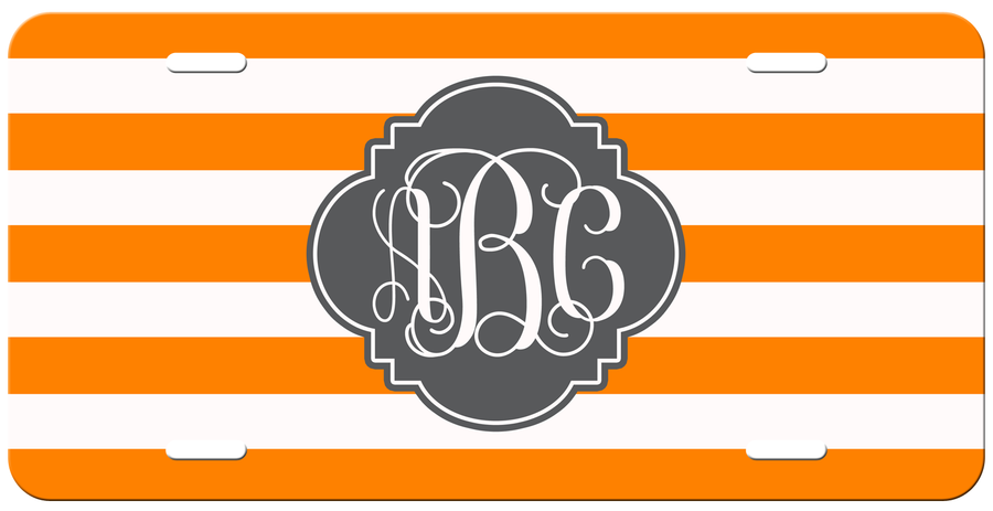 Monogrammed Orange Stripe License Plate
