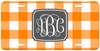 Monogrammed Orange Checkerboard License Plate