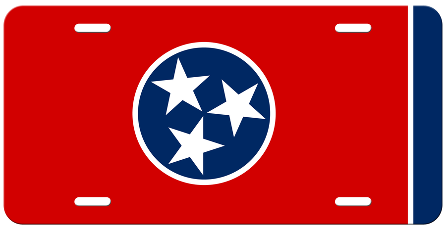 Traditional Tennessee Flag on a Red License Plate