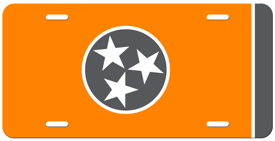 Grey Tri Star on a Orange License Plate