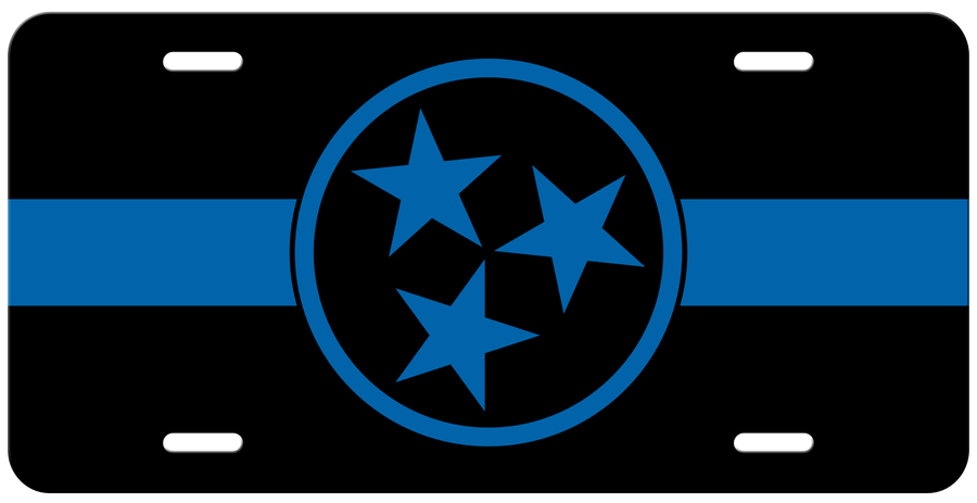 Blue Line Tennessee Police Tri Star License Plate