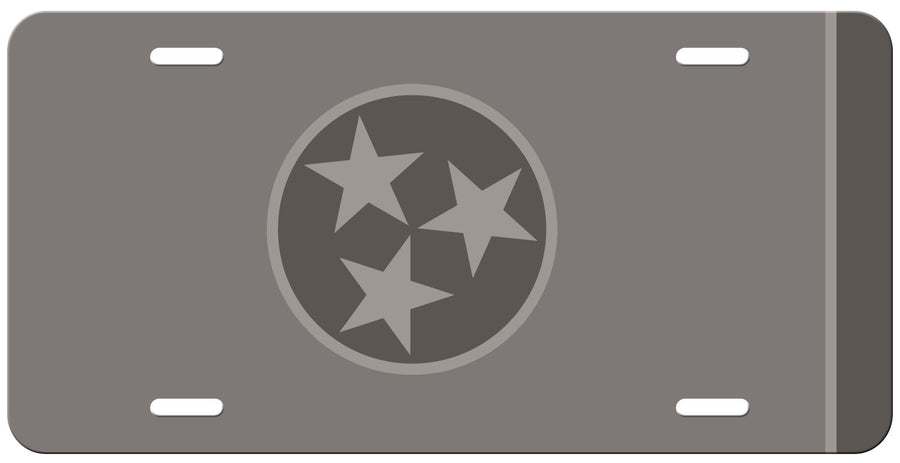 Dark Grey Tri Star on a Grey License Plate