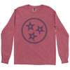 Clearance Adult Tri Star Outline on a Long Sleeve Brick T-Shirt