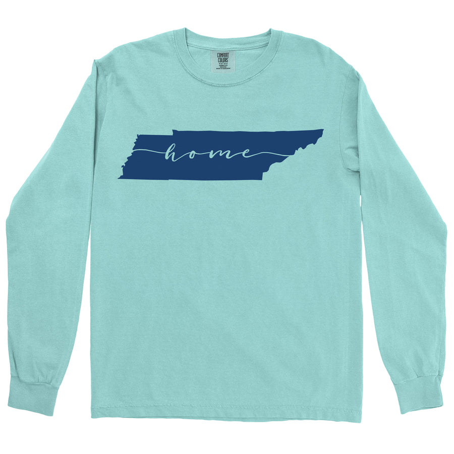 Clearance Adult Tennessee Home on a Long Sleeve Chalky Mint T-Shirt